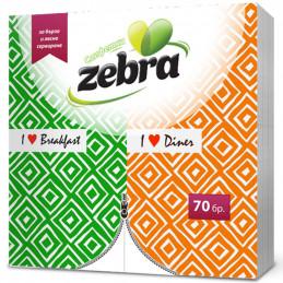 салфетки Zebra сгънати 70бр